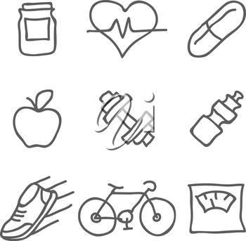 Health and Fitness vector icons. Elements for print, mobile and web applications. Vector Illustration