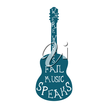 Guitar silhouette with words isolated. Vector illustration