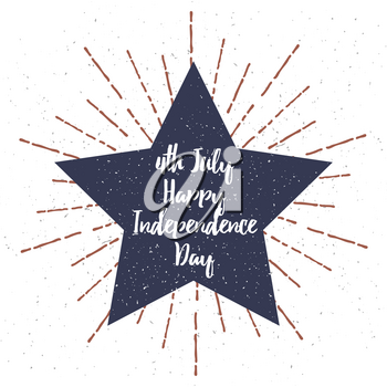 Star with Grunge texture vector illustration and 4th July Independence Day lettering. Vector illustration