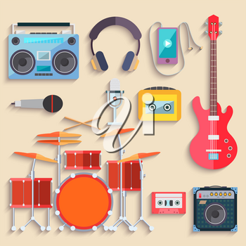 Colorful Musical instruments. Flat design. Vector illustration