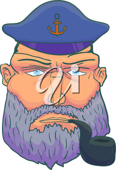 Cartoon Captain sailor face with Beard, Cap and Smoking Pipe. Vector illustration