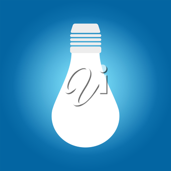 White lamp bulb icon on a blue background