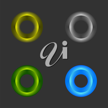 color rings set placed on a black background