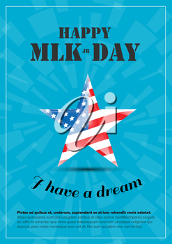 Vector Happy Martin Luther King Day poster with usa flag