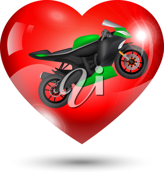 Modern motorcycle inside red heart, Valentine Day icon