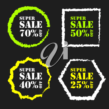 Colored Super sale badge on a black background