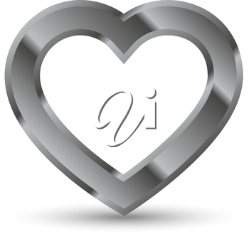 Metal heart shape with shadow vector illustration