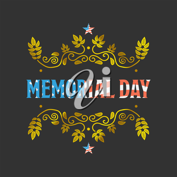 Memorial day vintage sign with American flag texture on black