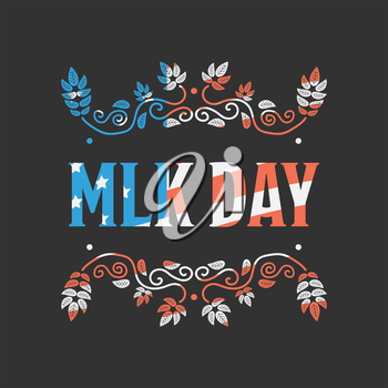 Martin Luther King Day with USA flag texture ob black background