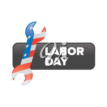 Labor day banner with american flag wrench