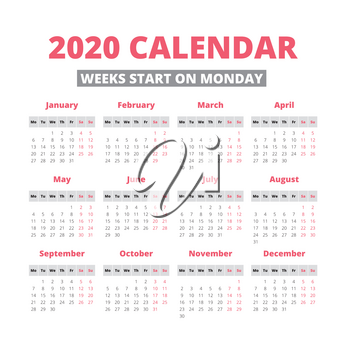 Simple 2020 year calendar, week starts on Monday