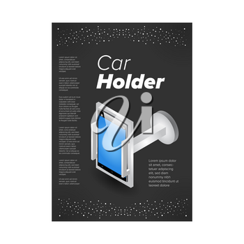 Plastic isometric gadget car holder on the black background. Ad banner template
