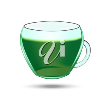 Cup of green tea. Realistic vector object illustration on the white background