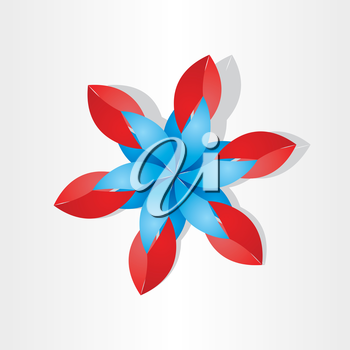 flower decoration icon red blue design element