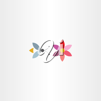 bee and flower symbol vector logo label