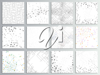 Set of 12 creative cards, square brochure template design. Molecular structure, gray backgrounds for communication, science abstract vector illustration.