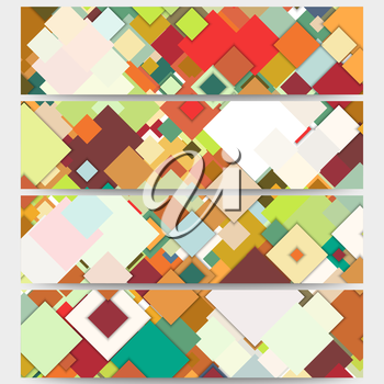 Web banners collection, abstract header layouts. Abstract colored backgrounds, square design, vector illustration templates.