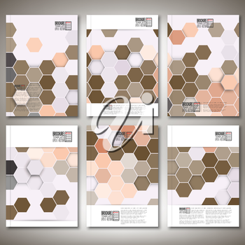 Geometric backgrounds, abstract hexagonal patterns. Brochure, flyer or report for business, templates vector.