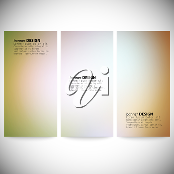 Set of vertical banners. Abstract multicolored defocused lights background vector illustration.