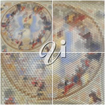 Catholic church inside. Collection of abstract multicolored backgrounds. Natural geometrical patterns. Triangular and hexagonal style vector illustration.