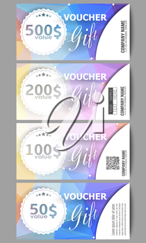 Set of modern gift voucher templates. Colorful design, abstract vector background.