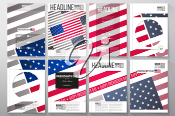 Set of business templates for brochure, flyer or booklet. Presidents day background with american flag, abstract vector illustration.