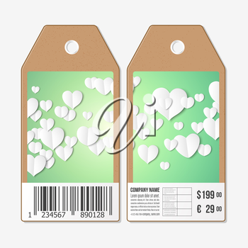 Vector tags design on both sides, cardboard sale labels with barcode. White paper hearts, green vector background, Valentines day decoration.
