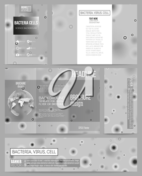 Set of business templates for presentation, brochure, flyer or booklet. Molecular research, illustration of cells in gray, science vector background.