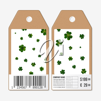 Vector tags design on both sides, cardboard sale labels with barcode. St Patricks day vector background, green clovers on white