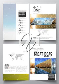 Set of business templates for brochure, magazine, flyer, booklet or annual report. Abstract colorful polygonal background with blurred image on it, modern stylish triangular and hexagonal vector textu