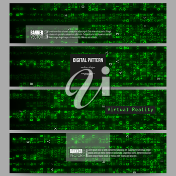 Set of modern vector banners. Virtual reality, abstract technology background with green symbols, vector illustration.