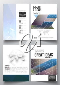 Set of business templates for brochure, magazine, flyer, booklet or annual report. Abstract colorful polygonal background with blurred image on it, modern stylish triangle vector texture.