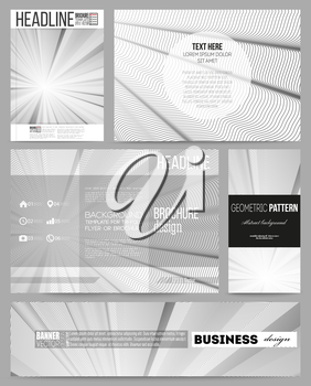 Set of business templates for presentation, brochure, flyer or booklet. Abstract lines background, simple abstract monochrome texture.