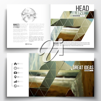 Set of annual report business templates for brochure, magazine, flyer or booklet. Colorful polygonal backdrop, blurred background, sea landscape, modern stylish triangle vector texture.