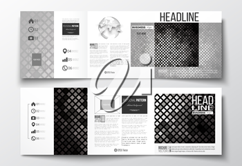 Vector set of tri-fold brochures, square design templates with element of world globe. Abstract polygonal background, modern stylish sguare design silver vector texture.