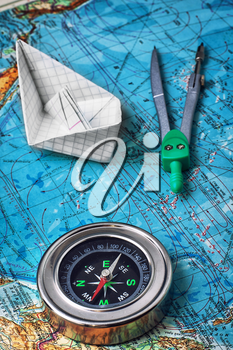 compass,map of the main tourist instruments