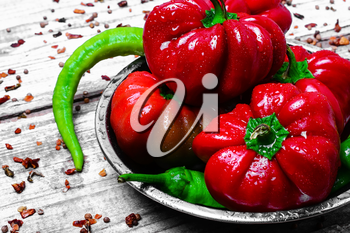 Set of red pepper and paprika on iron plate with bright light background with spices