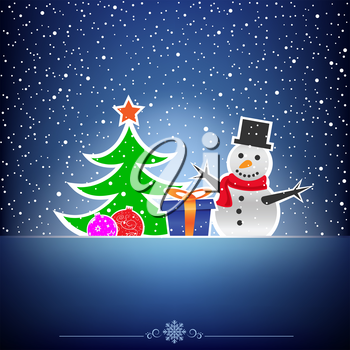 Christmas cartoon card with snowman, fir-tree, bauble and present on the blue mesh background