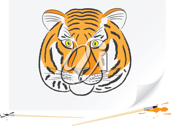 Children drawing of a tiger a brush paints on a paper