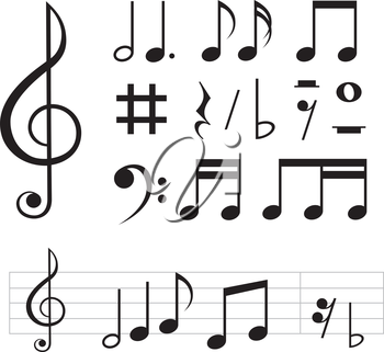 set of basic black notes and signs isolated on the white background.