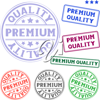 The different premium quality colored stamp isolated on white background
