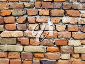 The old red brick wall background