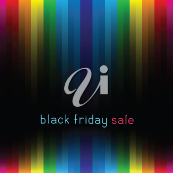 The lettering black friday sale on striped multicolored dark lines background