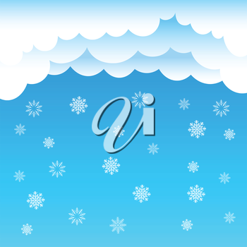 The cartoon cloud and snow falling on blue background. Winter time. Christmas and New Year eve