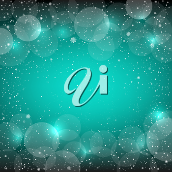 Holiday azure blue snow background with sparkle bokeh circles. Christmas and New Year backdrop