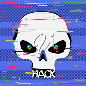 Glitch hacker skull with hack text teeth on blue screen device background. Computer crime hacker attack illustration