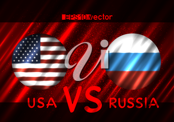USA VS Russia conflict. Round flags on dark red background. Cold war illustration