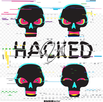 Glitch black hacker skulls set with hacked text on white transparent background. Skull laugh funny and angry different emotions collection. Computer crime attack illustration