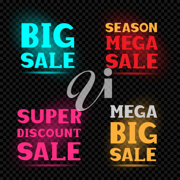Sale neon message label set on transparent dark black background. Business communication dialog or quote template collection sign.