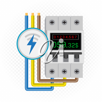 Electric meter icon with counter on breaker and debt amount. White transparent background around